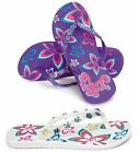 LADIES FLIP FLOPS SIZE 3 WHITE OR PURPLE (SEQUIN FLOWER BEACH FW499)