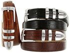"Kaymen Italian Calfskin Leather Designer Dress Golf Belts for Men 1-1/8"" Wide"