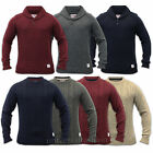 Mens Jumper Wool Mix Threadbare Chunky Cable Knitted Crew Neck Sweater Winter