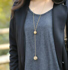1PC Fashion Women Gold Hollow Double Balls Pendant Adjustable Long Necklace