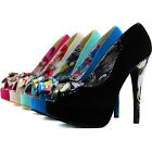 Peep High Heel Stiletto Platform Pumps Floral Toned Super Sexy Bridal Dress Shoe