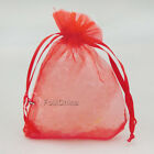 Red Organza Wedding Favour Gift Bags Jewellery Pouches 5x7.7x9,9x12,13x17cm