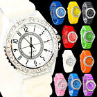 Womens Bling Crystal Silicone Silicon Bracelet Wrist Watch Ladies Girls