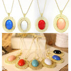 New Style Vintage Retro Oval Stone Hollow Out Pendant Chian Sweater Necklace