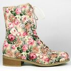 Pink Floral Lace Up Mid Calf Military Combat Boot Wild Diva Madrid-10