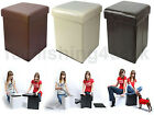 FOLDING OTTOMAN FOOT STOOL FAUX LEATHER  POUFFE CHEST BOX  LID BROWN BLACK CREAM