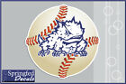 TCU Horned Frogs SUPER FROG on BASEBALL Vinyl Decal PICK A SIZE! Car Sticker