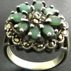 NICE GENUINE REAL EMERALD MARCASITE 925 STERLING SILVER MARCASITE FLOWER RING