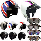 Viper RS-04 Open Face Motorcycle Motorbike Scooter Crash Helmet Retro + Goggles