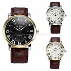 Fashion Gold Black Mens Automatic Mechanical Date Brown Leather Wrist Watch Cool