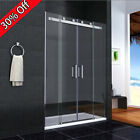 Shower Enclosure Walk In Sliding Double Door Glass Cubicle Side Panel Stone Tray