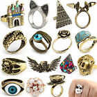 Jewelry Lots 10pcs Retro Antique Silver Bronze Punk Rock Gothic New Rings