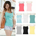Stylish Women Lace Cotton Sequin Crochet Stretch Cami Tank Tops Shirts Vest Tee