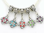 20pcs Antique Style Silver Tone Dangle Charms Inlay Rhinestone Fit Bracelet AS11