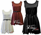 Womens Self Floral print sexy skater dress ladies  belted party dress size 10 12
