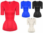 Womens Ladies Short Sleeve Smart Pleated Peplum Frill Dip Hem Bodycon Party Top