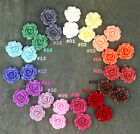 Colorful Resin Rose Flowers Cabochons 15 colours 20mm Cameo Flat Back p227 PICK