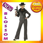 C749 Gangster Lady 1920s Chicago Moll Mafia Fancy Dress Pinstripe Costume Suit