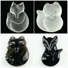 F1351 Carved Rock crystal Obsidian Black agate fox pendant bead