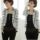 Women Off-White Knit Cardigan Stripe One Button Suit Outerwear Jacket Shrug Coat