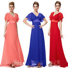 Double V-Neck Women Dresses Ruffles Long Evening Bridesmaid Formal Dress 09890