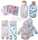 NEW Baby Newborn Fleece Blanket Swaddling Wrap Swaddle Hooded Robe Dressing Gown