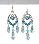 "SWAROVSKI CRYSTAL ELEMENTS Silver Prom 2"" Chandelier Earrings AQUAMARINE Blue"