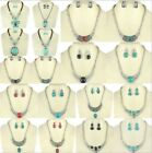 Butterfly Vintage Tibetan Silver Turquoise Beaded Earring Necklace Jewelry Set