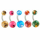 Belly button bars surgical steel navel bars piercings rings jewellery 2PCs 9KAD