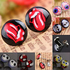 Women Punk Skull / Evil Eye Sign Lip Coin Stainless Steel Stud Pin Ear Earrings