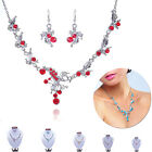 Beauty Flower Crystal Necklace Earrings Plating Silver Wedding Jewellery Set NEW