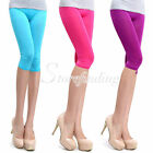 Fashion Women's Candy Color Stretchy Cropped Leggings Shorts Leggings