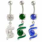 Surgical steel belly bars Ferido navel rings piercing button dangle Crystal 9KAT