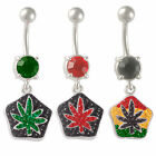 belly button rings Crystal flower navel bars piercing dangle surgical steel 9KAY