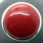 Huge Smooth 24mm Red Carved Lacquer Solid Copper 925 STERLING SILVER RING #8-#10