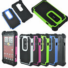 Dual Layer Heavy Duty Hybrid Hard Rubber Armor Case Cover for HTC EVO 3D Sprint