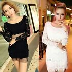 Europe Women Sexy Hollow-out See Through False Two-Piece Lace Long Sleeve Dress