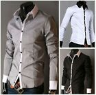 WT906 Men Luxury Casual Slim fit Stylish Dress Long Sleeve Shirt 5Colors 5Size