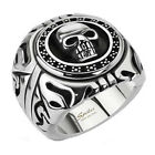 316L Stainless Steel Men's Fancy Skull Shield Wide Ring Size 9-15