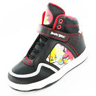 Boys Size 10 - 2 Black Red ANGRY BIRDS Hi Top Velcro Trainers NEW Hyper
