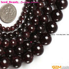 Jewelry Making loose natural smooth round garnet gemstone beads strand 15""