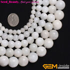 Jewelry Making  white smooth round moonstone gemstone Loose beads strand 15""