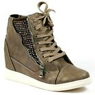 Khaki Brown Lace up High Top Hidden Wedge Sneakers Nature Breeze Victoria-04