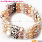 Finished Jewelry  8-9mm freshwater pearl strand bracelet bangle stretch 7""