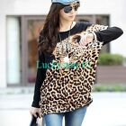 Fashion Women Cool Leopard Print Batwing Casual Knit Loose Blouse Thin Tops L XL