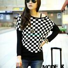 New Women Black & White Plaids Crewneck Batwing Casual Loose Knitted Blouse L XL