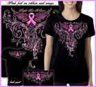 Black Ladies Women's T-Shirt with Foil Fight for a Cure Pink Ribbon Design
