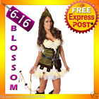 B63 Ladies Robin Hood Storybook Thief Costume Fancy Dress Halloween Outfit + Hat