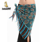 new belly dance hip scarf triangle shawl fringes belt peacock pattern 3 colors