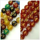 Jewelry Making 10mm round agate Tibetan guru beads with mantra sign GEM bead 15""